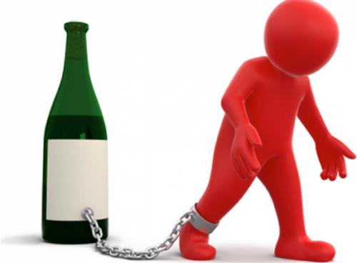 Человек прикован к бутылке