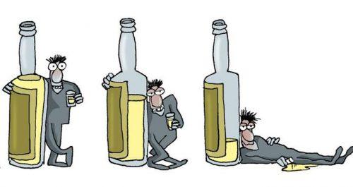 Карикатура на три стадии алкоголизма