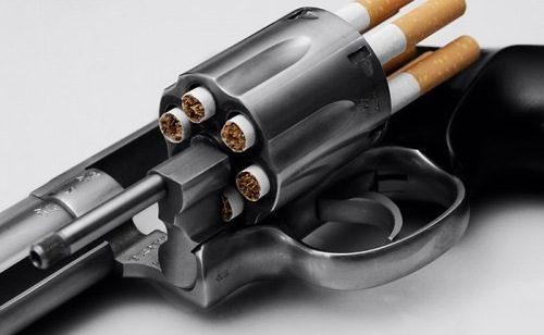пистолет заряжен сигаретами