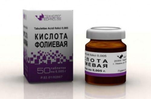 Фолиевая кислота - таблетки в упаковке